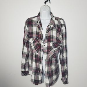 Sanctuary Red Plaid Long Sleeve Button Up Flannel